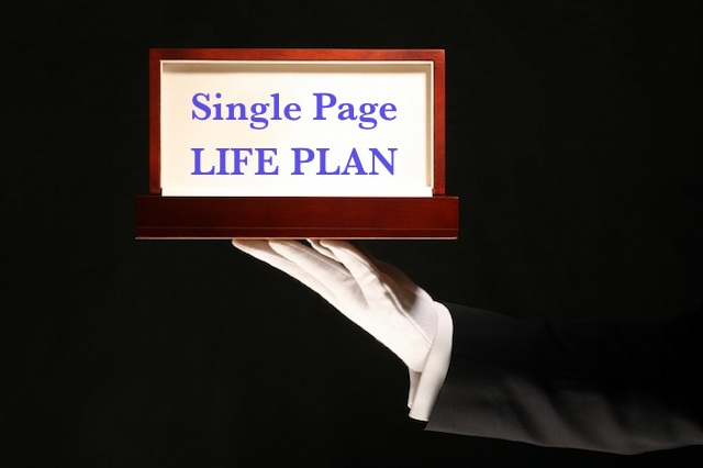 Image of a white-gloved hand holding a wooden frame with the words Single Page Life Plan