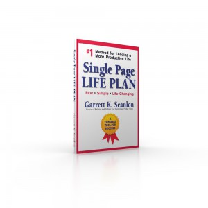 Image of the book, Single Page Life Plan, a life planning tool to add time energy and spontaneity to your life