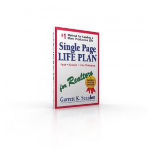 Image of the book, Single Page Life Plan for Realtors, a life planning tool that adds time and energy to your day.