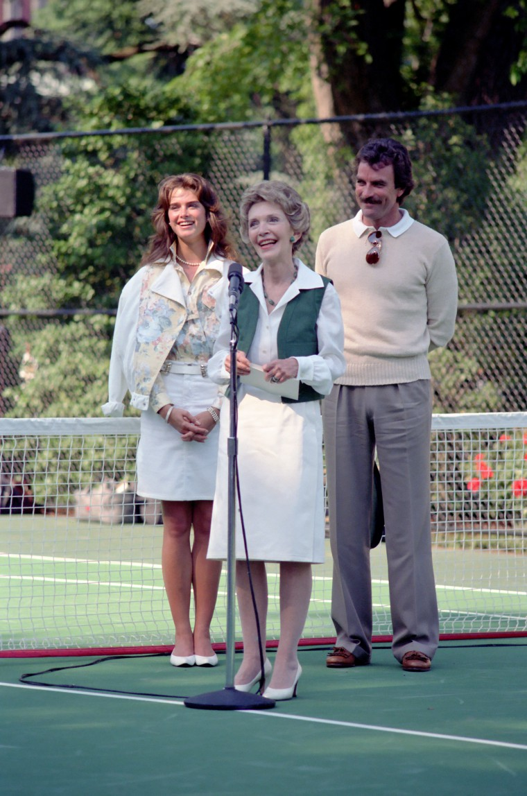 Tom Selleck and Broooke Shields join Nancy Reagan at a Just Say No event. This post is about just saying no, again.
